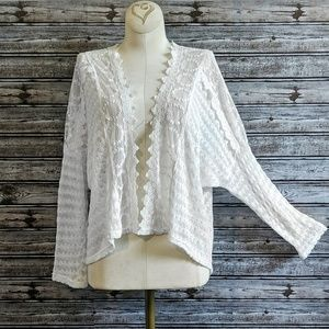 Monteau White Lace Mesh Embroidered Open Cardigan